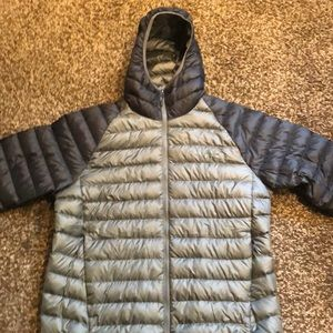 Men's XL travail hooded down jacket